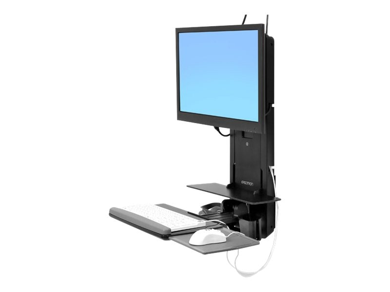 Ergotron StyleView Sit-Stand Vertical Lift, Patient Room, Black, 61-080-085, 16746034, Wall Stations