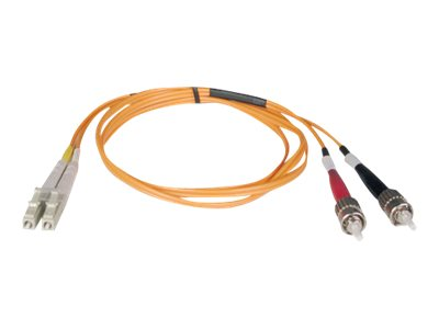 Tripp Lite LC-ST 50 125 OM2 Multimode Duplex Fiber Cable, Orange, 20m, N518-20M