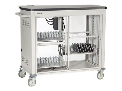 Black Box Double Frame Universal Computing Cart, 30 Small Device Configuration, Tambour Door, UCCDS30T, 16004381, Computer Carts