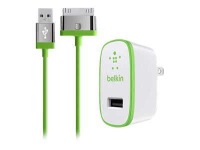 Belkin Home Charger for iPad, 10W 2.1A, 30-pin Cable, Green, F8J141TT04-GRN