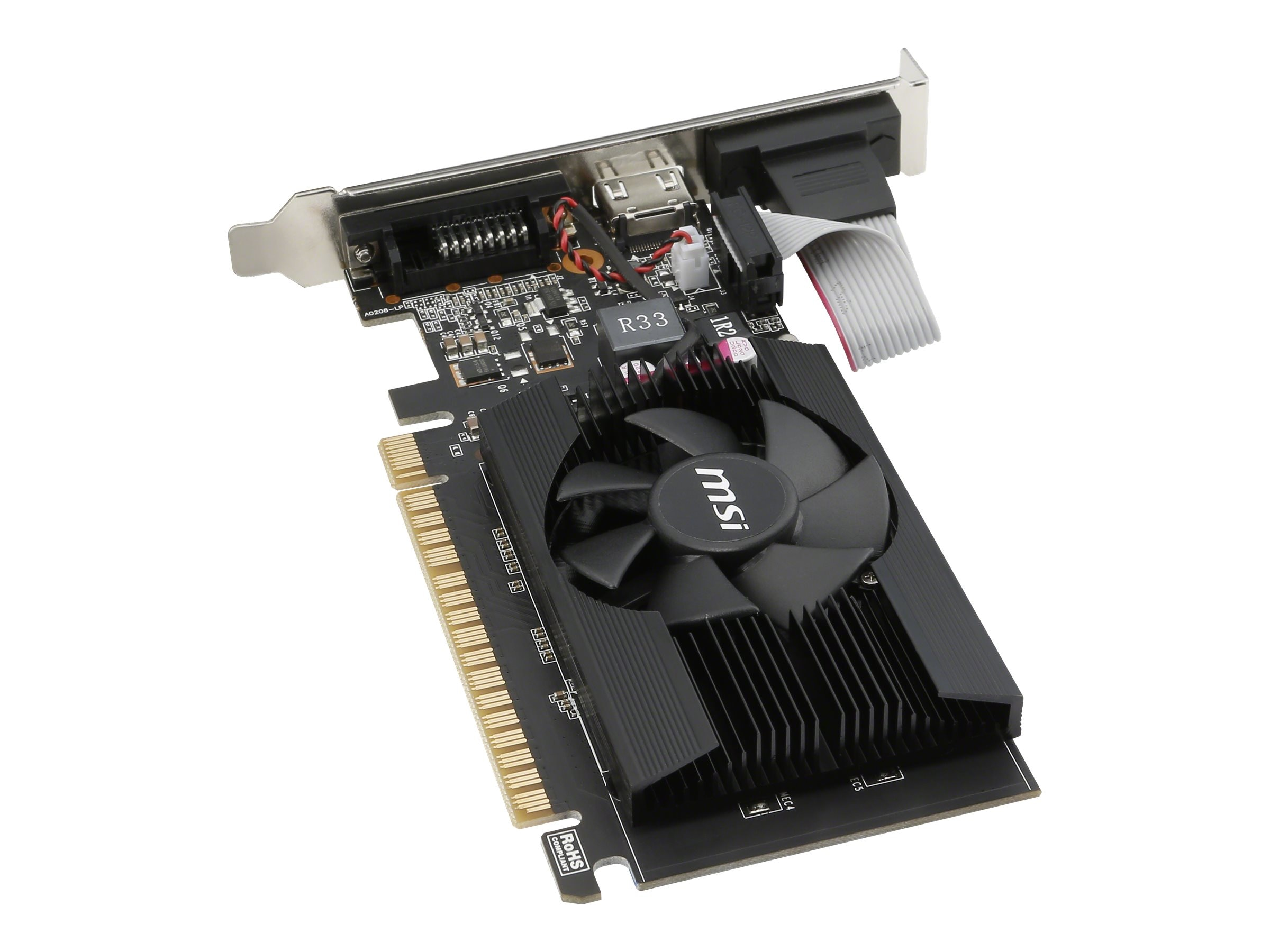 Microstar GeForce GT 710 PCIe 2.0 x16 Graphics Card, 2GB DDR3, GT 710 2GD3 LP