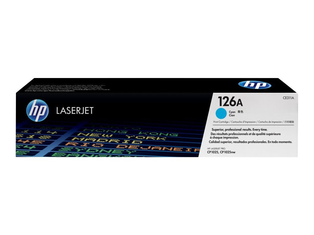 HP 126A (CE311A) Cyan Original LaserJet Toner Cartridge for HP LaserJet CP1000 & HP LaserJet Pro 100, CE311A, 12052684, Toner and Imaging Components