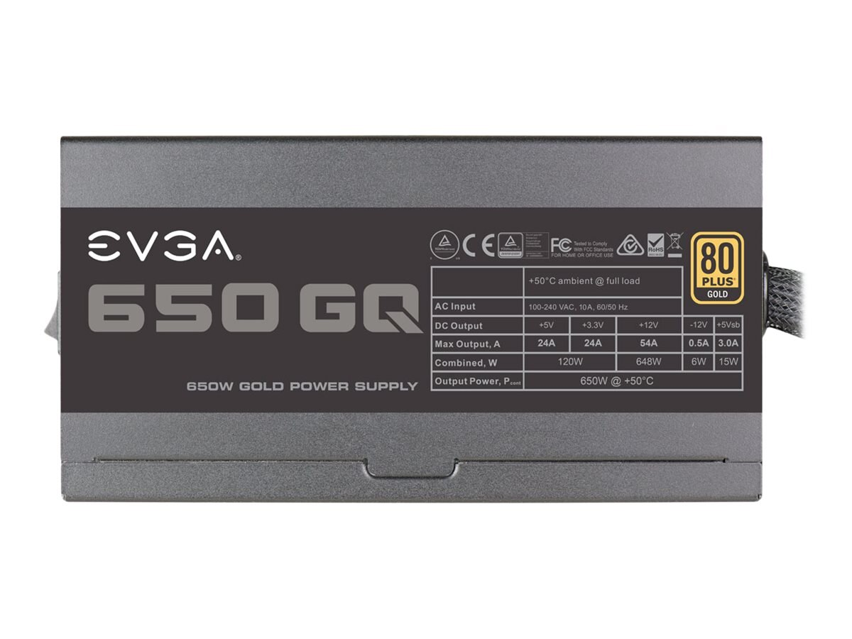 eVGA 650 GQ Power Supply, 210-GQ-0650-V1