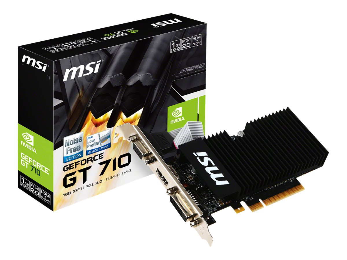 Microstar GeForce GT 710 PCIe 2.0 x8 Graphics Card, 1GB DDR3, GT 710 1GD3H LPV1