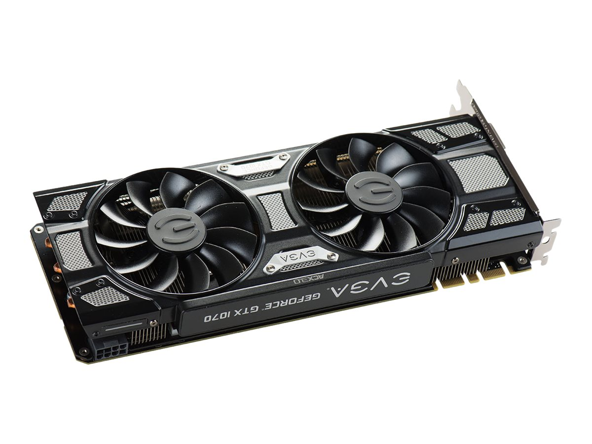 eVGA GeForce GTX 1070 GAMING ACX 3.0 PCIe 3.0 x16 Black Edition Graphics Card, 8GB GDDR5