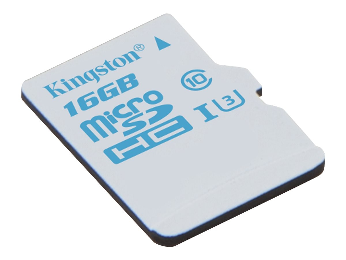 Kingston 16GB microSDHC UHS-I U3 Flash Memory Card with SD Adapter, Class 10, SDCAC/16GB