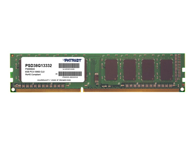 Patriot Memory 8GB PC3-10600 240-pin DDR3 SDRAM DIMM, PSD38G13332, 16662017, Memory