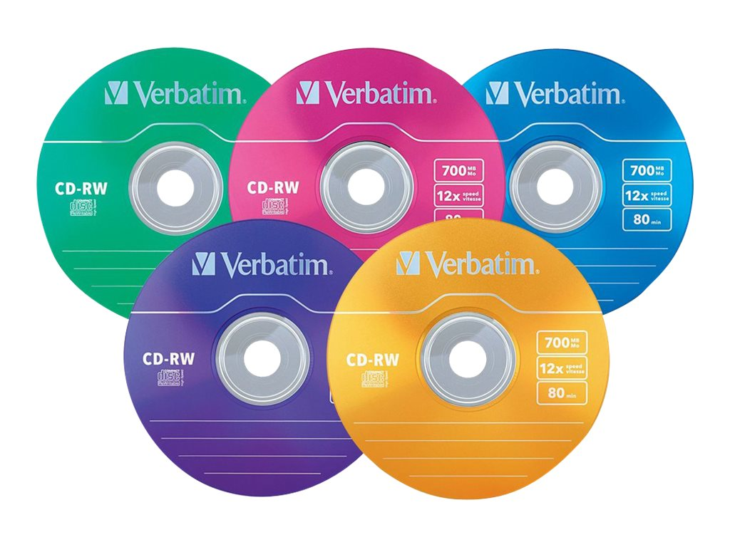 Verbatim 12x 700MB 80min. Color CD-RW Media (20-pack), 96685