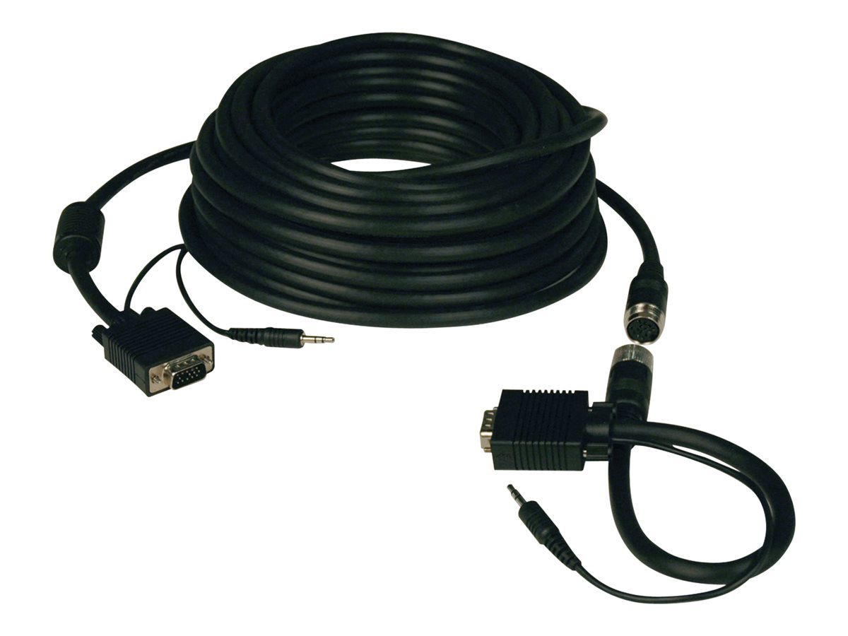 Tripp Lite Easy-Pull Monitor Cable with Audio, HD15 (M-M) and 3.5mm (M-M), Black, 50ft, P504-050-EZ