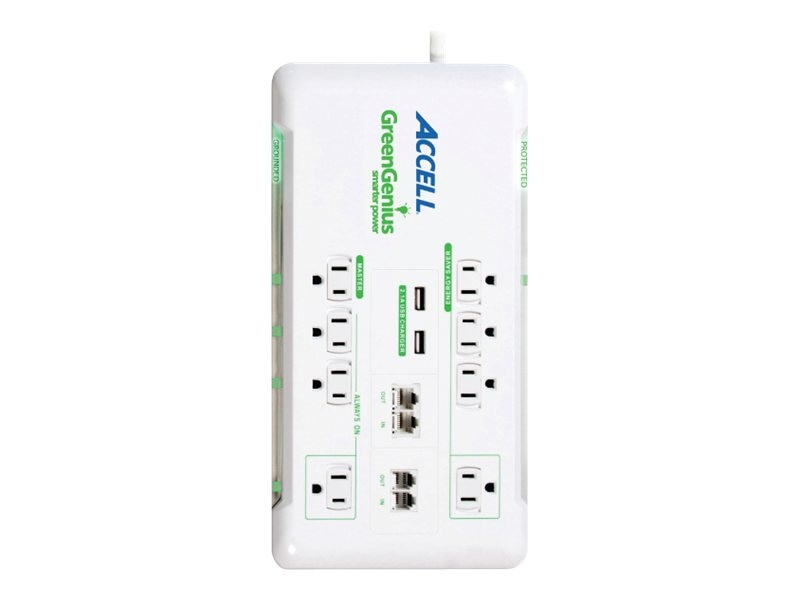 Accell GreenGenius Surge Protection (8) Outlets 6ft Cord for Home Theater Office, D080B-017K