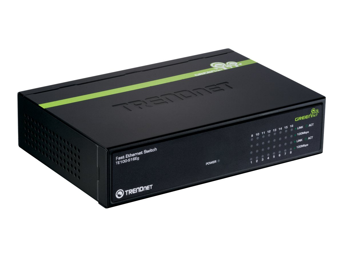 TRENDnet 16-port 10 100Mbps Ethernet Standalone GreenNet Switch, TE100-S16EG, 10896285, Network Switches