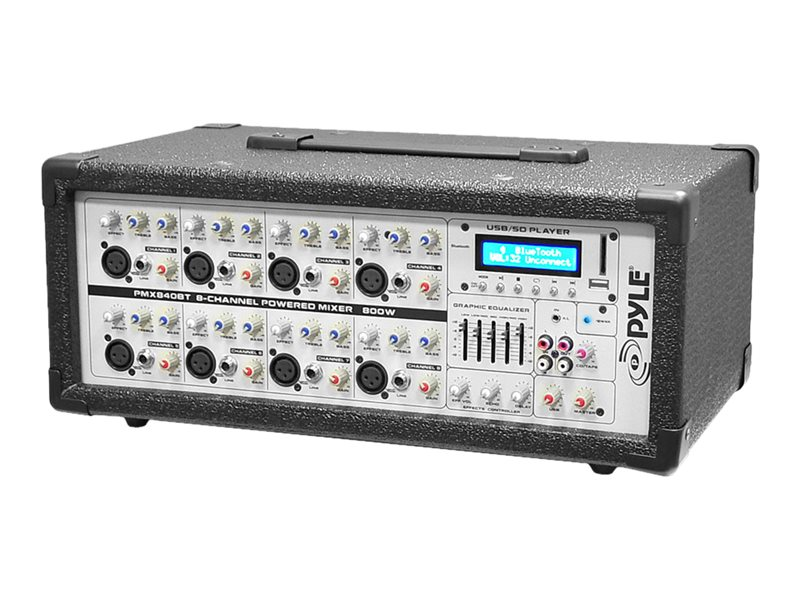 Pyle 8-Channel 800 Watt BT Mixer w  Mic, Line Inputs, USB & SD Card Readers