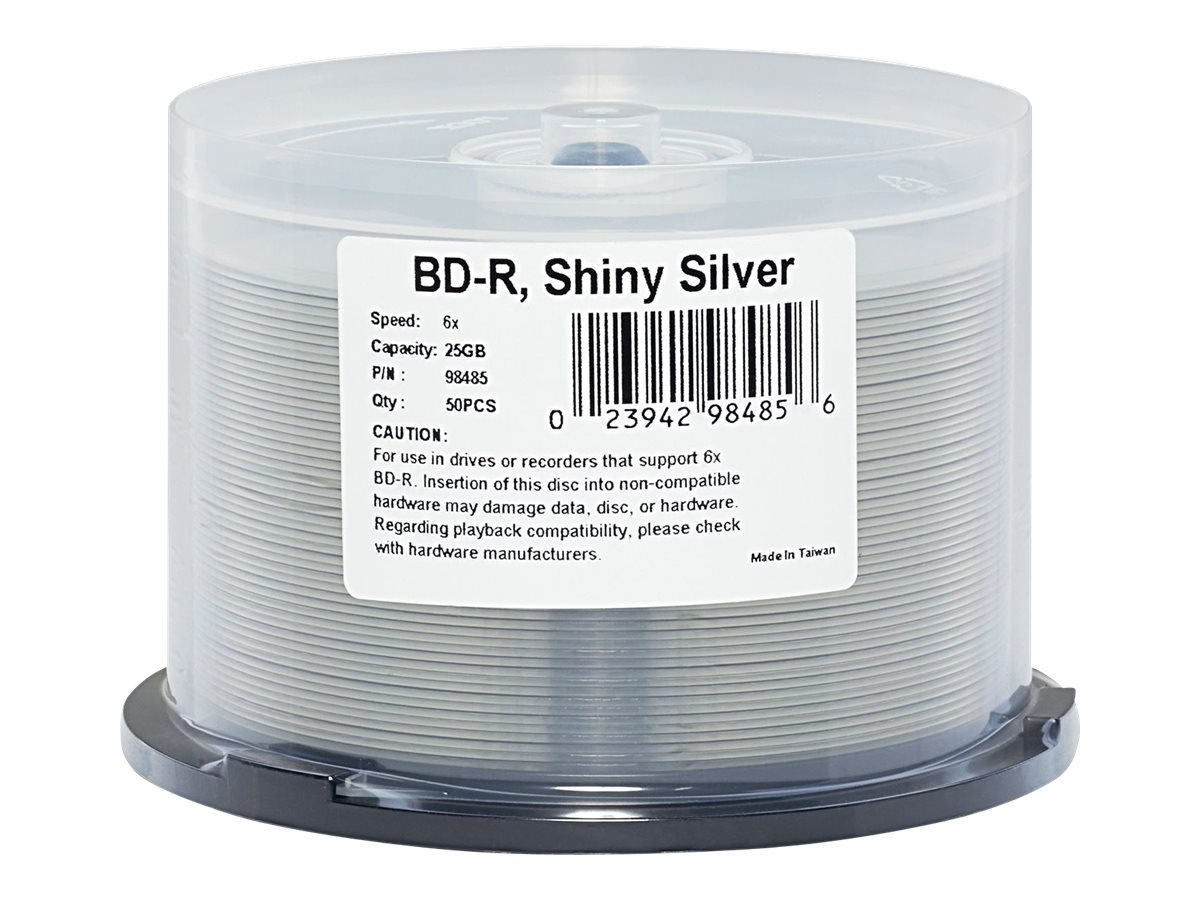 Verbatim 6x 25GB Silver BD-R Media (50-pack Spindle), 98485