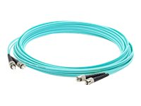 ACP-EP ST to ST 50 125 OM3 Multimode Duplex LOMM Fiber Patch Cable, Aqua, 2m, ADD-ST-ST-2M5OM3