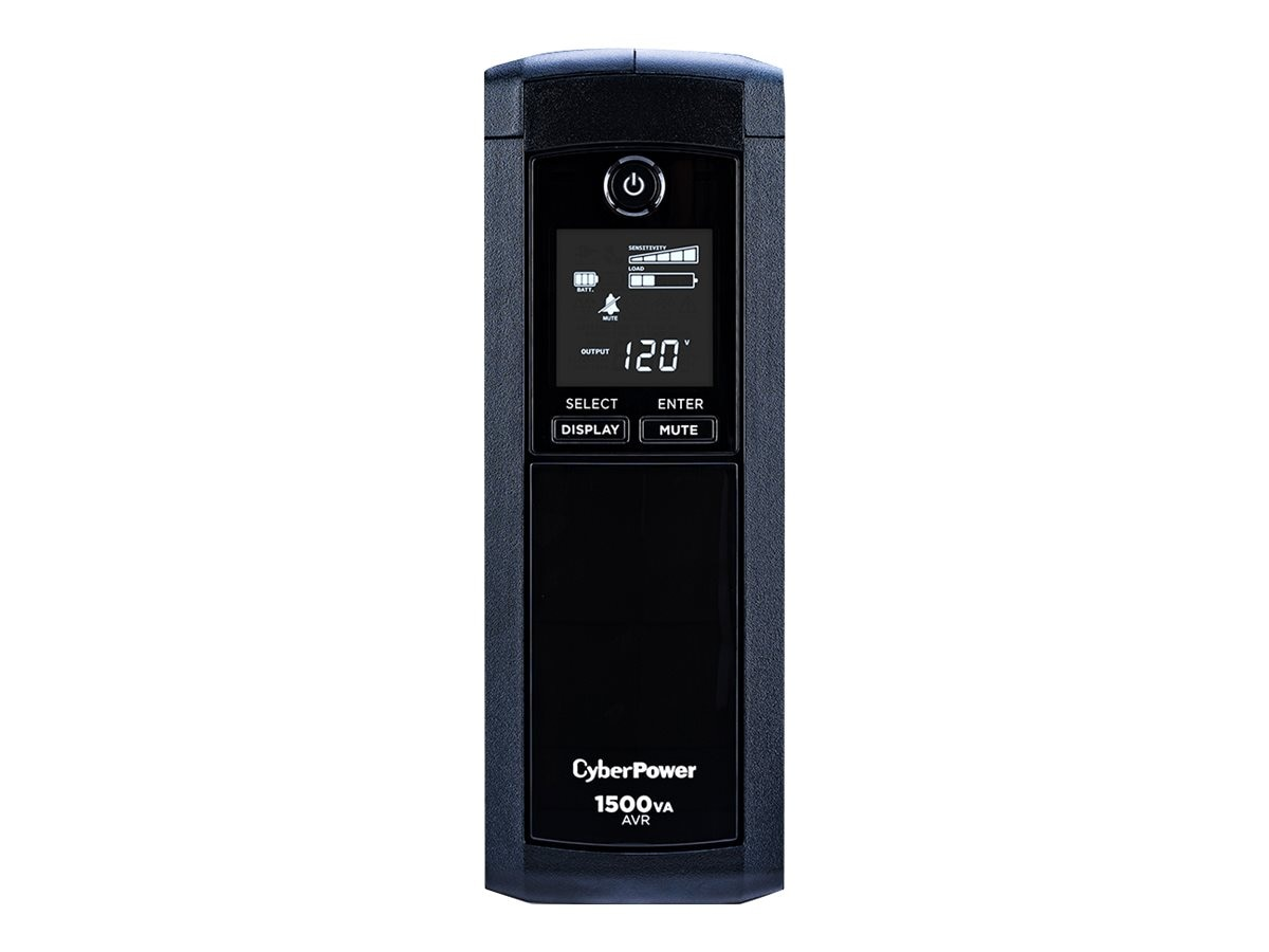CyberPower 1500VA 900W UPS AVR, LCD, Line Interactive, (12) Outlets, Phone Network Cable Coax Protection, CP1500AVRLCD