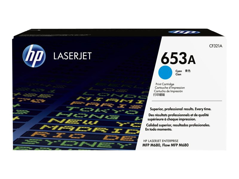 HP 653A (CF321A) Cyan Original LaserJet Toner Cartridge for HP LaserJet Enterprise MFP M680 Series