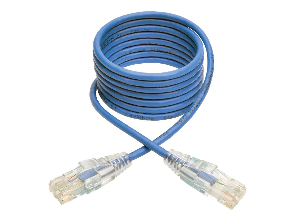 Tripp Lite Cat6 Gigabit Snagless Molded Slim UTP Patch Cable, Blue, 5ft
