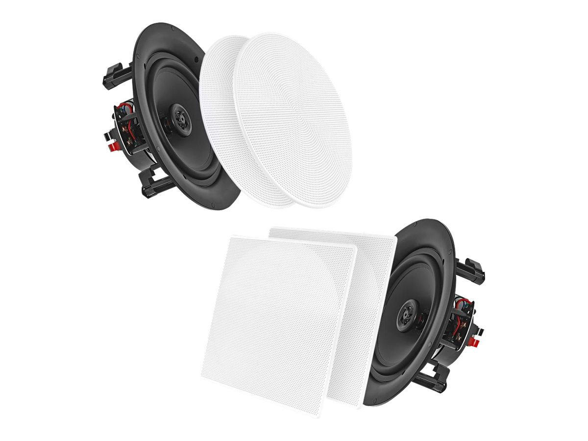 Pyle 5.25 150W White In-Wall InCeiling Dual Stereo Speakers, PDIC56