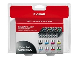 Canon Black Cyan Photo Cyan Magenta Photo Magenta Red Green Yellow CLI-8 Ink Cartridge Pack (8 Cartridges), 0620B015, 7407022, Ink Cartridges & Ink Refill Kits