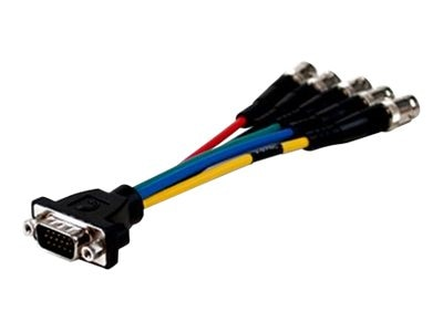 Comprehensive HR Pro Series Low-Profile VGA to 5-BNC Jacks Cable, 6in, VGA15PLP-5BJ-1HR, 14773573, Cables