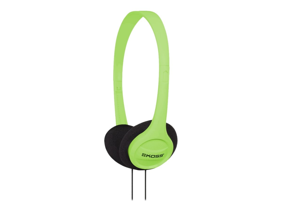Koss Portable On Ear Headphone Adjustable Headband, Green, KPH7G, 17678803, Headphones