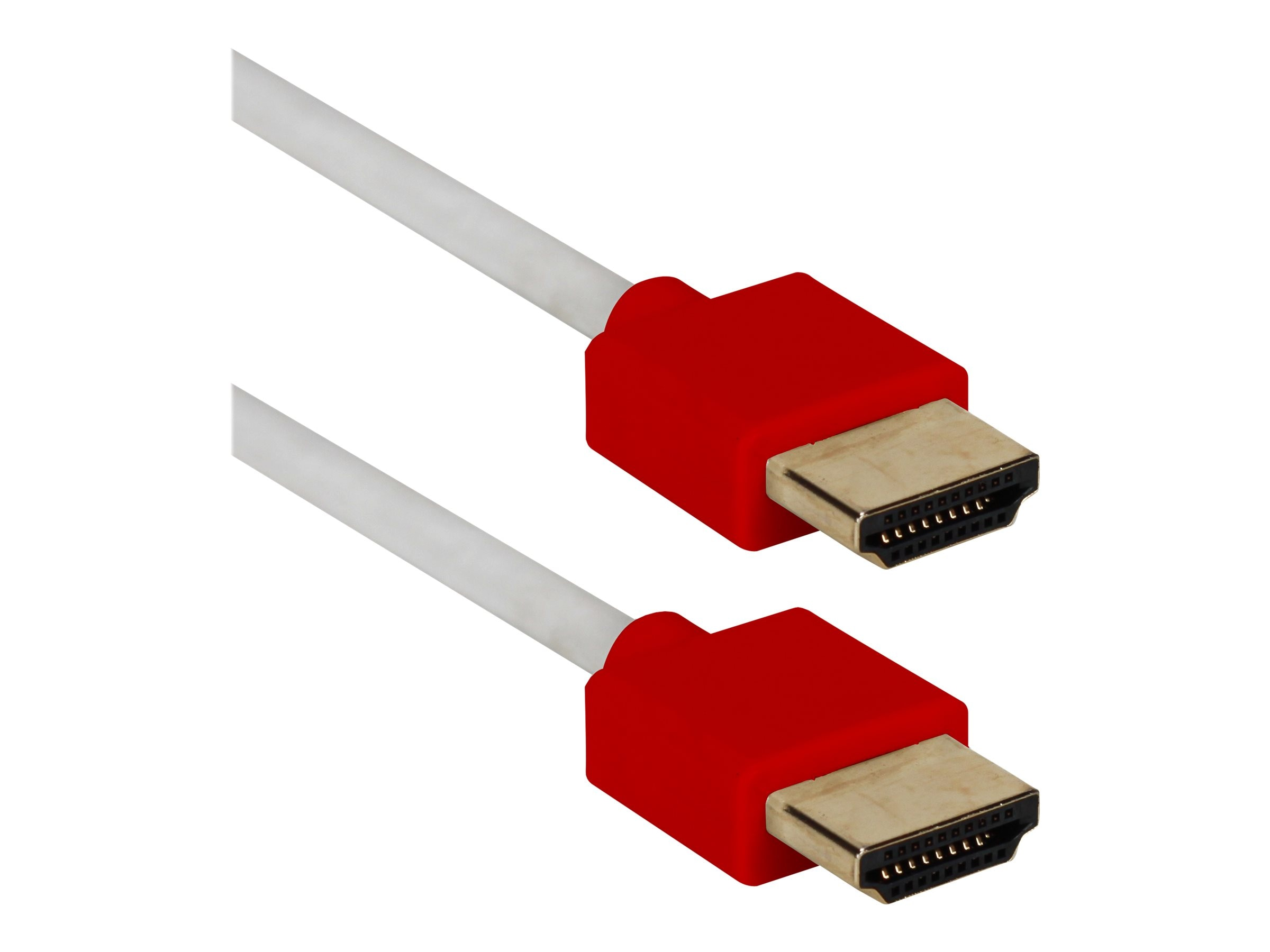 QVS High Speed UltraHD 4K HDMI Thin Flexible Cable with Ethernet, White Red, 10ft
