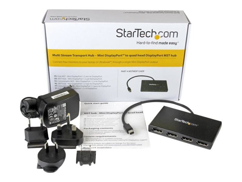 StarTech.com Mini DisplayPort to 4x DisplayPort MST Hub, MSTMDP124DP