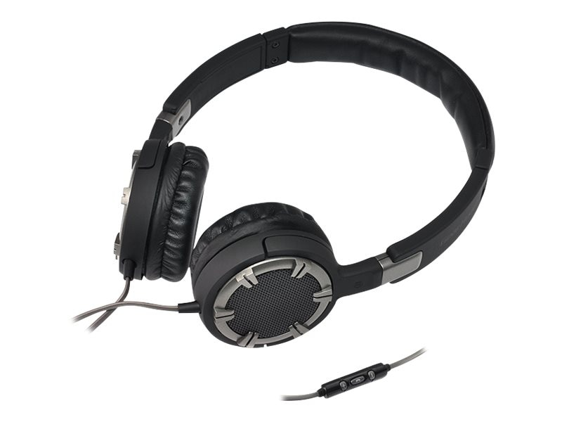 Gear Head Multimedia Dynamic Bass Headphones w  Controller & Mic - Black Chrome