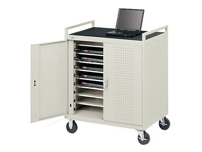 Bretford Manufacturing 18-Unit Device Cart with Rear Electrical on 8 Casters, Gray Mist