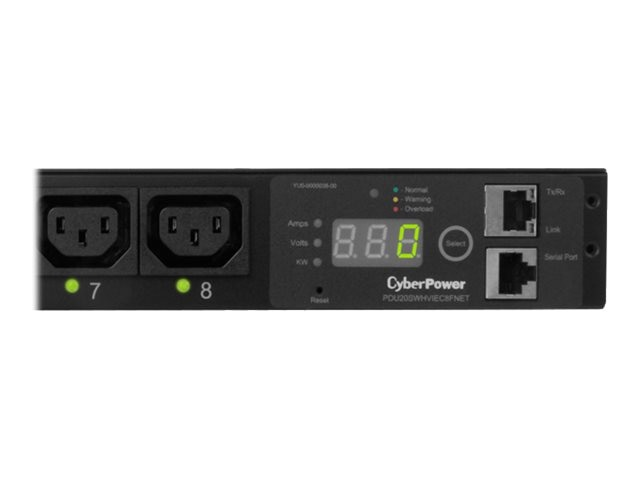 CyberPower Switched PDU 240V 20A 1U RM Digital Display SNMP C20 10ft Cord (8) C13 Front, PDU20SWHVIEC8FNET