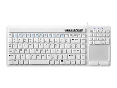 Man & Machine Simply Cool Touch Waterproof Value Keyboard with Touchpad, White, SIMPLYCT/G1, 12959841, Keyboard/Mouse Combinations