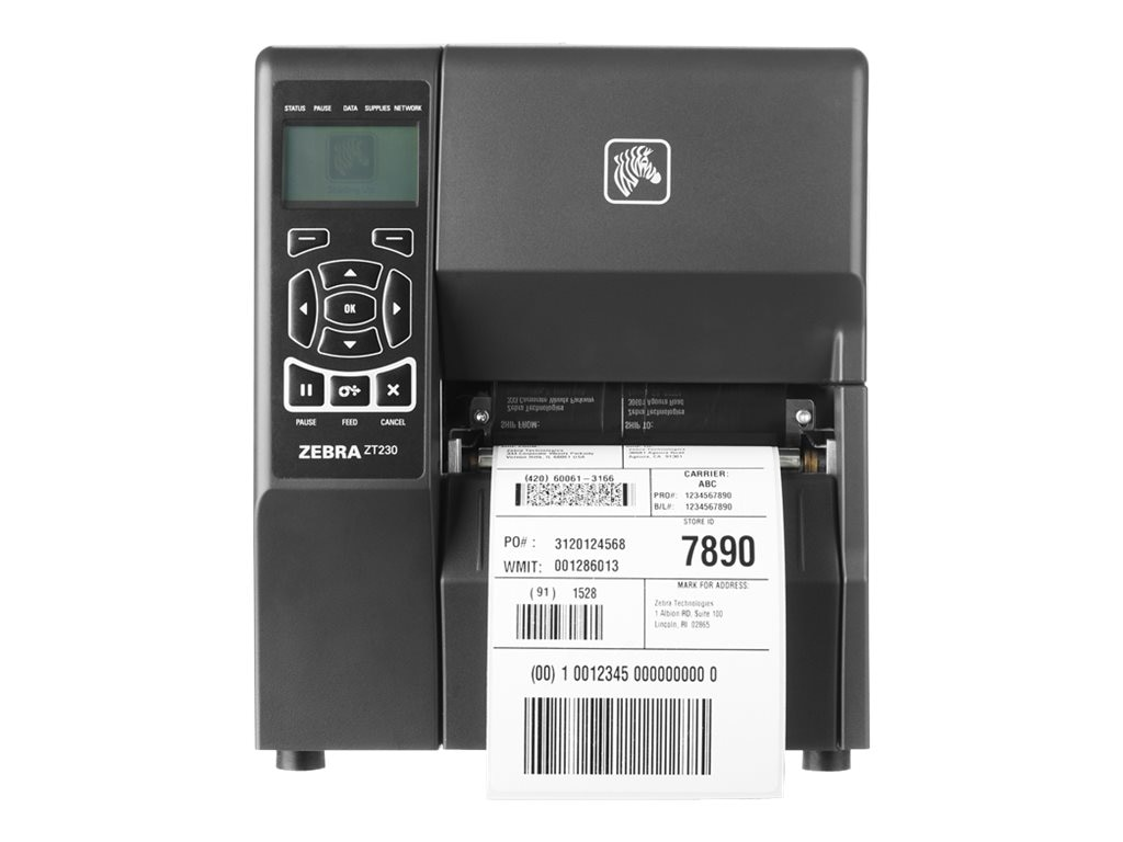Zebra ZT230 TT 203dpi ZPL 4 USB Serial Printer w  Peeler & Power Cord