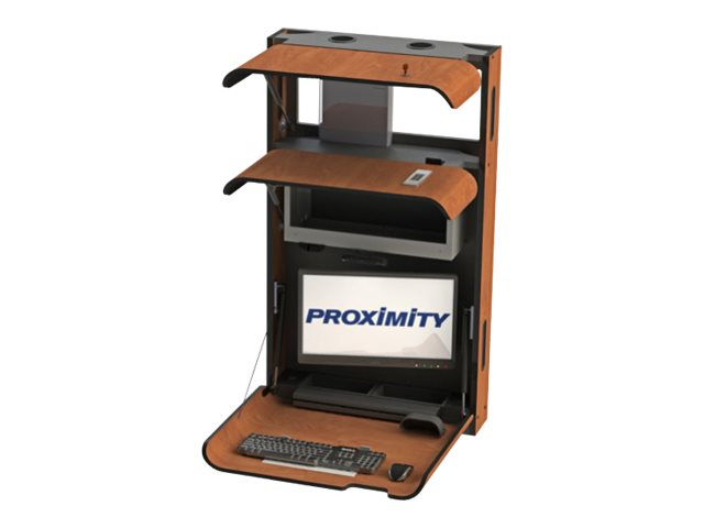 Proximity Classic CXT-28-MED-T Self-Disinfecting Wall Station with Tilt Arm, Med Storage, Bannister Oak