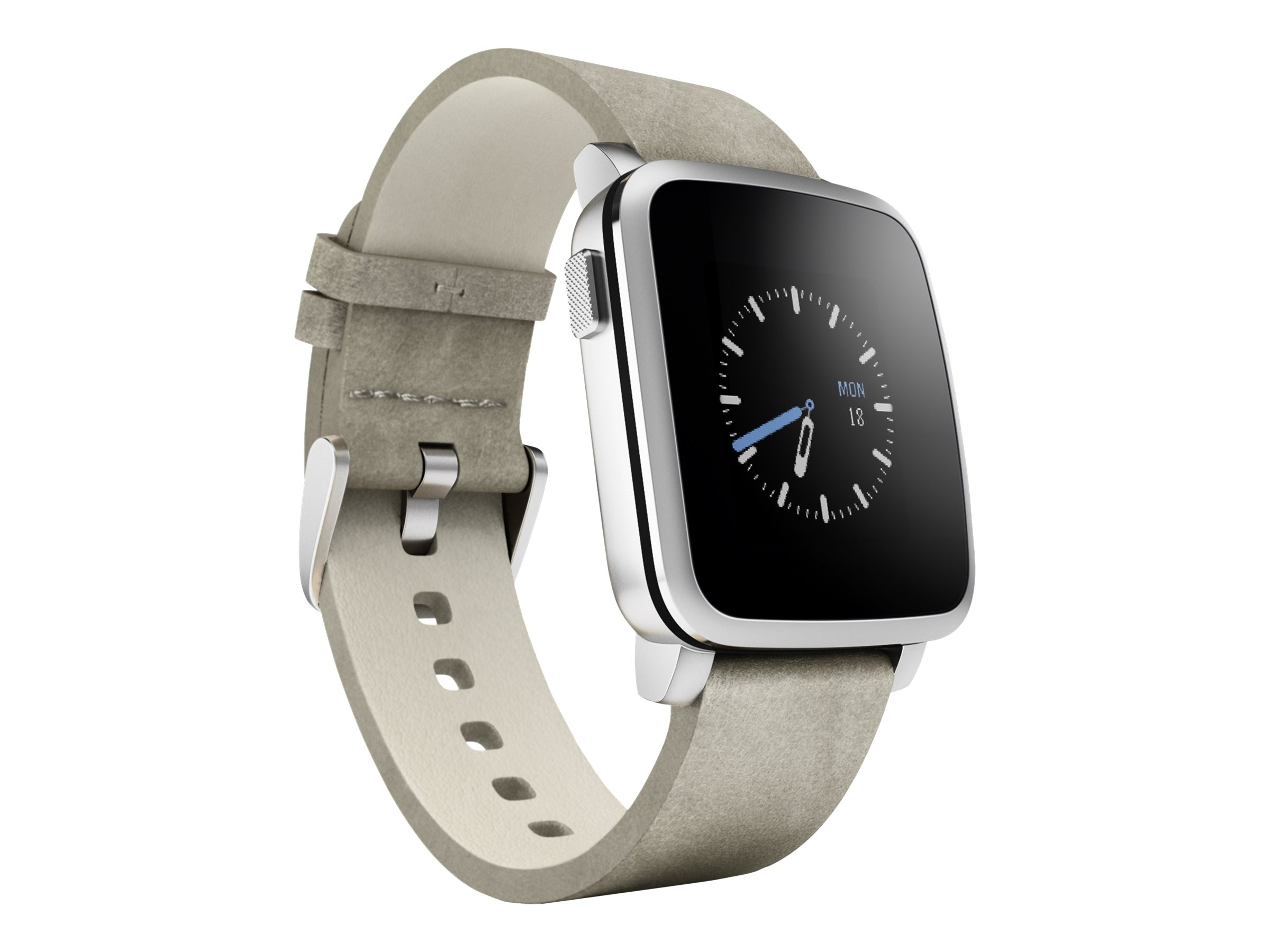 Pebble Time Steel Smartwatch, Silver, 511-00023