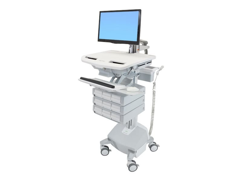 Ergotron Styleview Cart with Arm, Life Powered, 9 Drawers, SV44-1292-1, 17772015, Computer Carts - Medical