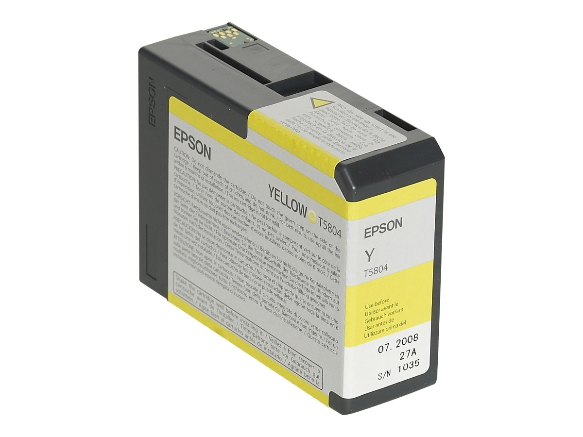 Epson Yellow 80ml UltraChrome K3 Ink Cartridge for Stylus Pro 3800 3800 Professional Edition, T580400