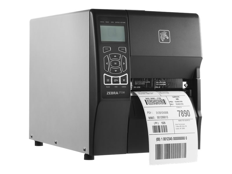 Zebra ZT230 Direct Thermal-Thermal Transfer 203 dpi Serial USB Industrial Printer w  US Power Cord, ZT23042-T01000FZ