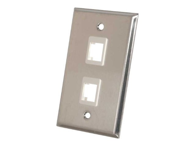 C2G 2-Port Single-Gang Multimedia Keystone Wall Plate, Stainless Steel, 37094, 7897594, Premise Wiring Equipment