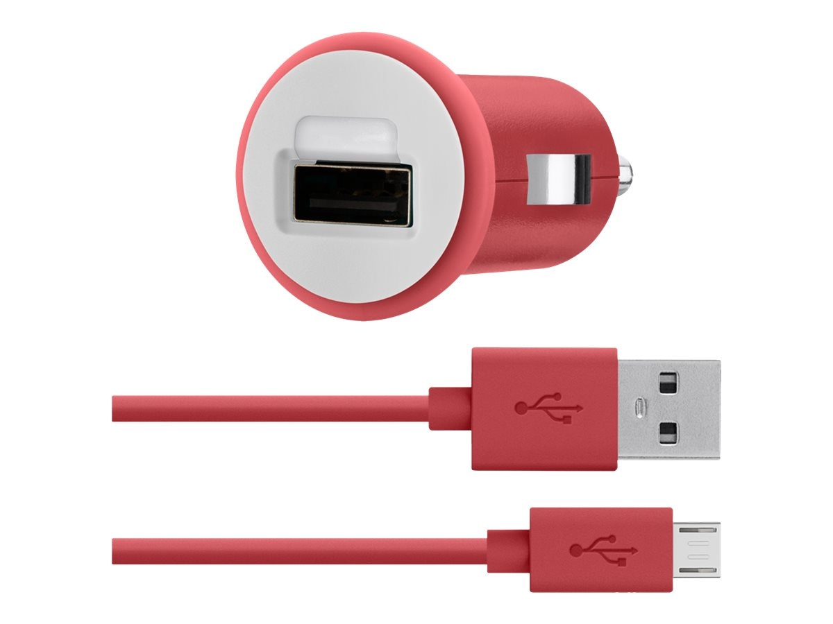 Belkin Car Charger, 30-Pin Charge Sync Cable, 10W 2.1A, Red