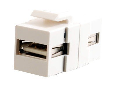 C2G Snap-In USB Type A (F-F) Keystone Module, White, 28748, 9772971, Cables
