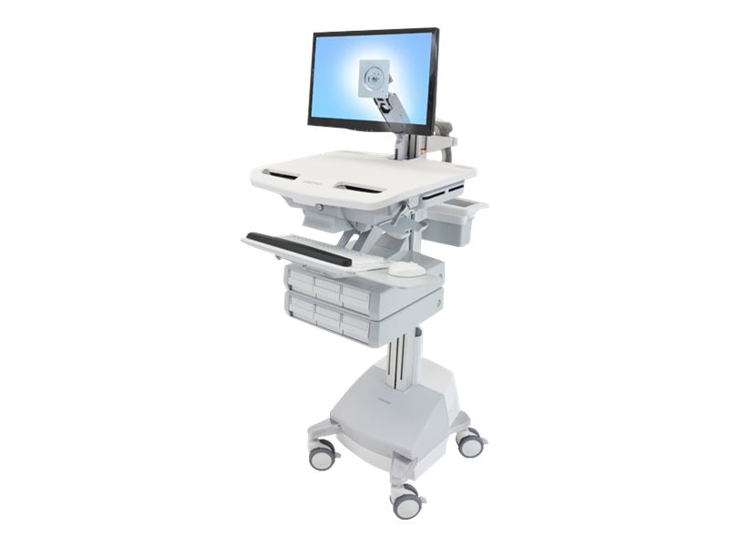 Ergotron StyleView Cart with LCD Arm, SLA Powered, 6 Drawers, SV44-1261-1