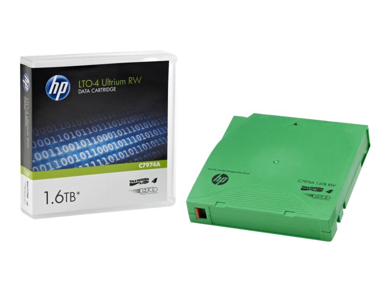 HPE LTO-4 Ultrium 1.6TB RW Data Tape, C7974A, 7738294, Tape Drive Cartridges & Accessories