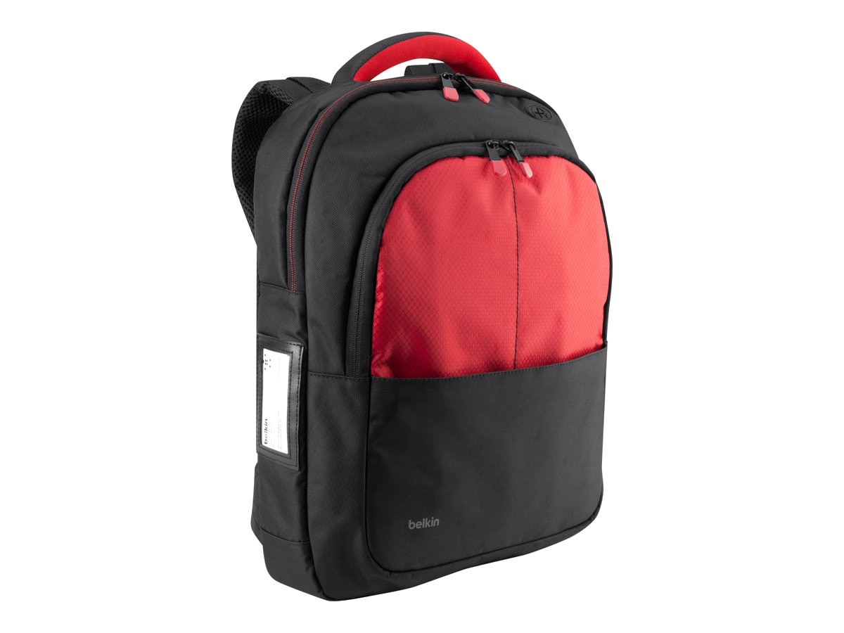 Belkin Backpack for 13 Laptop, Black Red, B2B077-C02, 15755967, Carrying Cases - Notebook