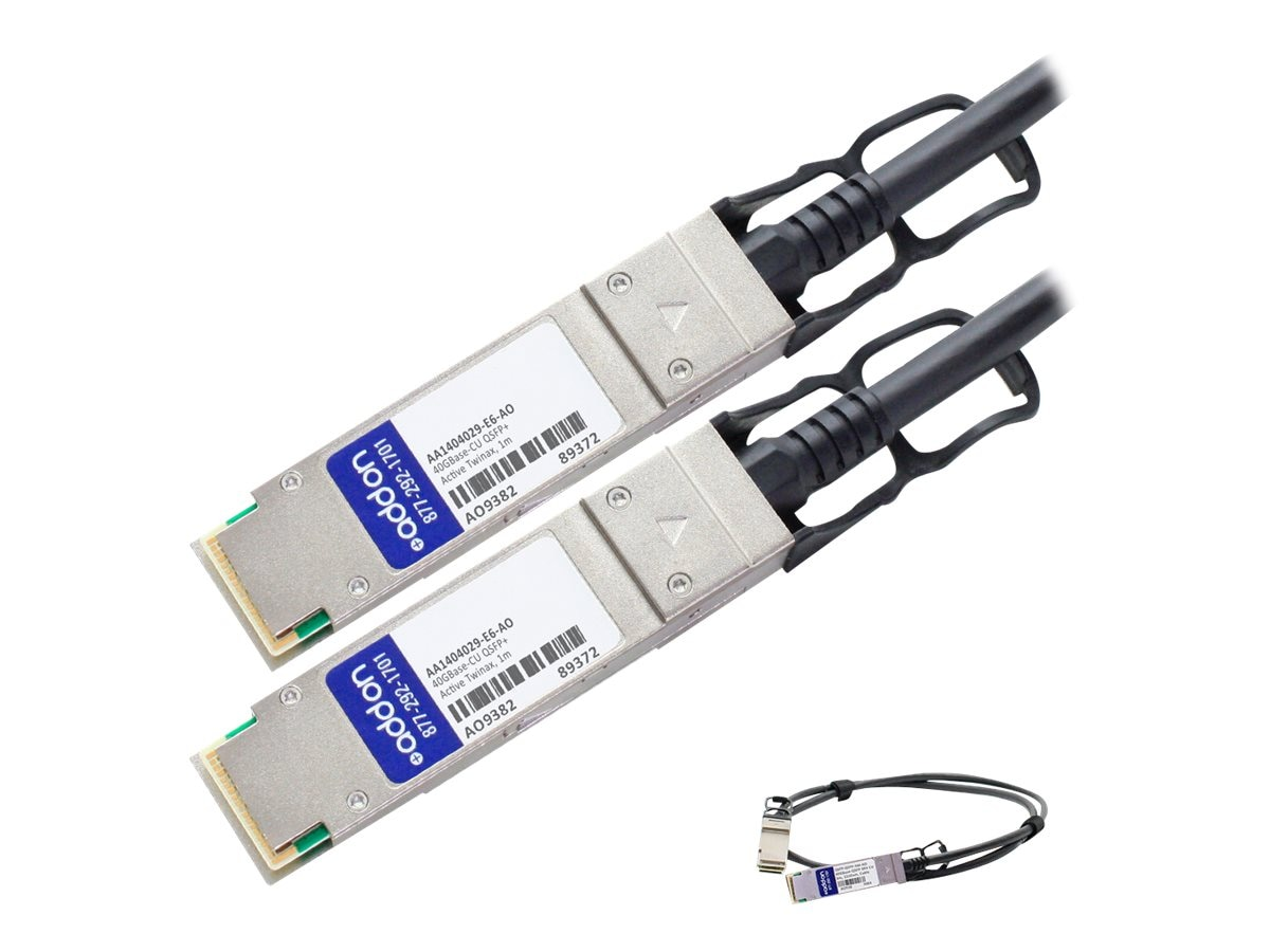 ACP-EP Avaya Compatible 40GBase-CU QSFP+ to QSFP+ Direct Attach Active Twinax Cable, 1m, AA1404029-E6-AO