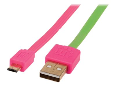 Manhattan USB 2.0 Type A to USB Micro B M M Flat Cable, Pink Green, 6ft