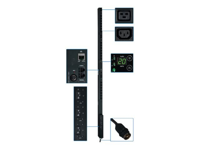 Tripp Lite PDU 3-Phase Switched 208V 12.6kW Hubbell (21) C13 (3) C19 0U RM, PDU3VSR3H50, 12428397, Power Distribution Units