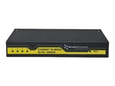 Brainboxes 4-Port RS232 Ethernet to Serial Adapter, ES-701, 15279649, Adapters & Port Converters