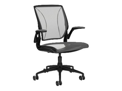 Humanscale World Chair with Adjustable Duron Arms, Black Frame, Pinstriple Mesh