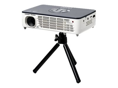 Aaxa P450 Pro WXGA 3D DLP Pico Projector with Speakers, 500 Lumens, White Gray, KP-650-03