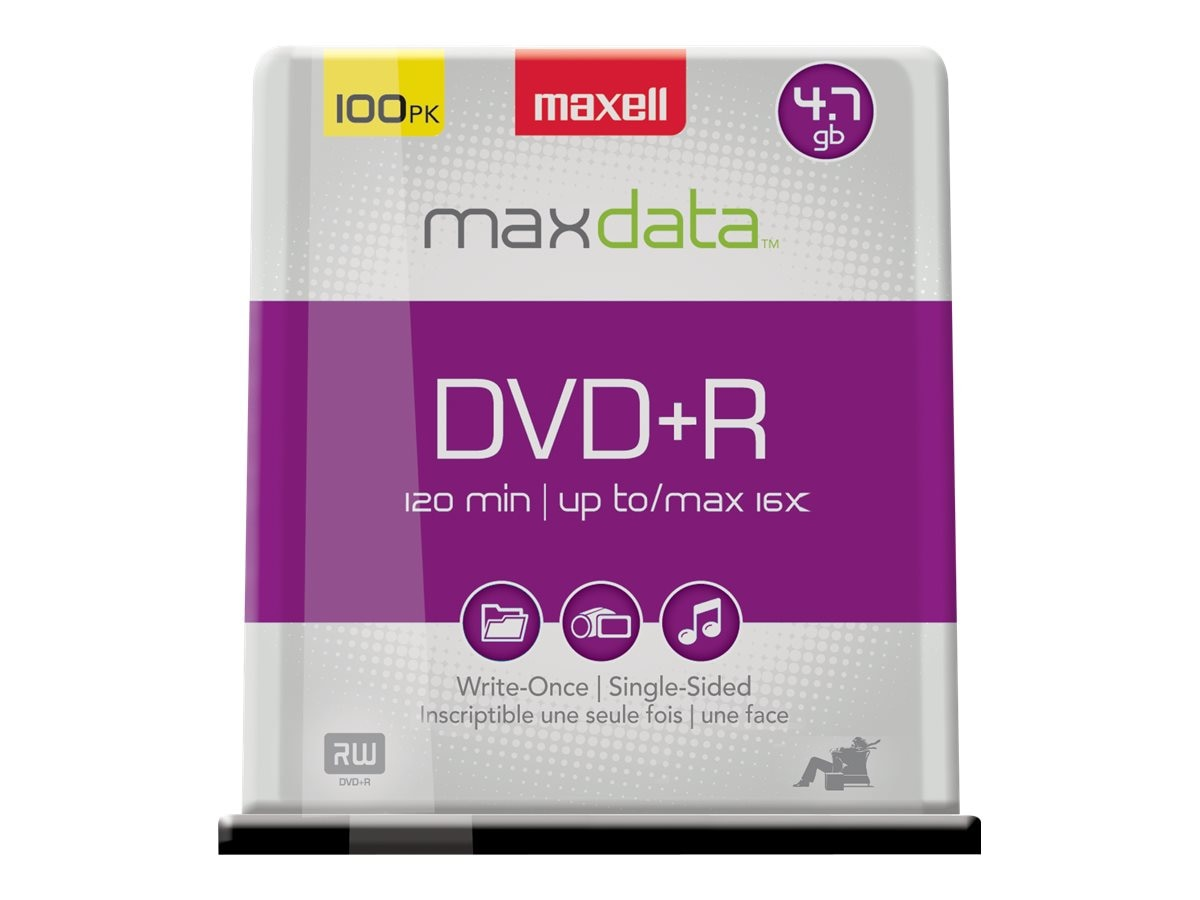 Maxell 16x 4.7GB DVD+R Media (100-pack Spindle), 639016